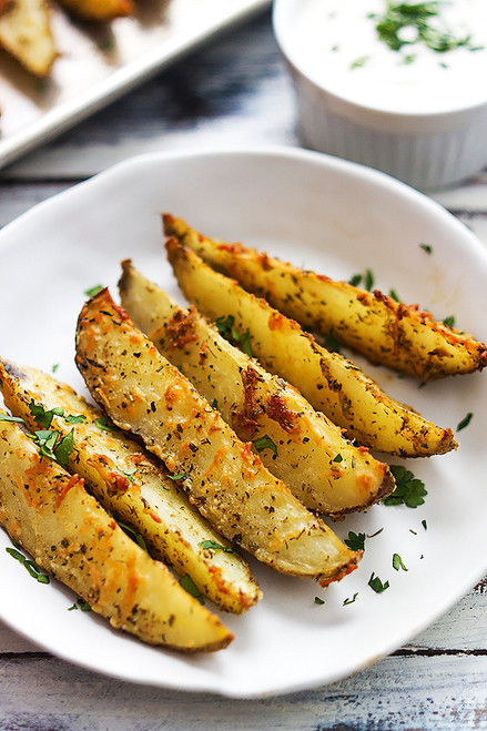 BAKED GARLIC PARMESAN POTATO WEDGES - (Free Recipe below)