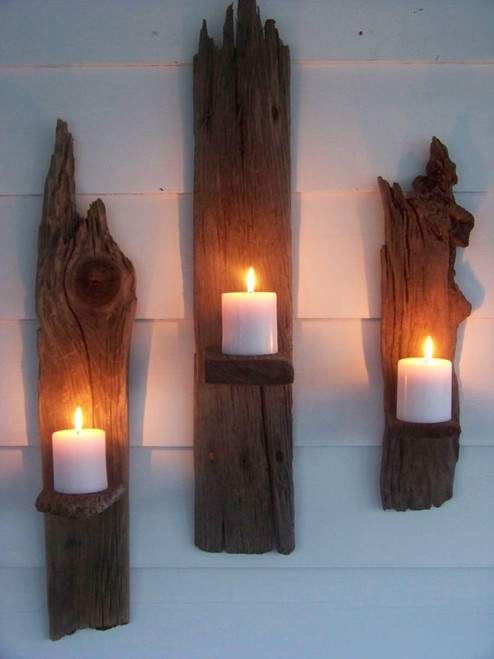 """Set of 2 Driftwood Candle Wall Sconces - 30"""" each"""