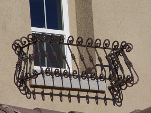 "Custom 60"" Wrought Iron Balcony Style Window Box - Black"