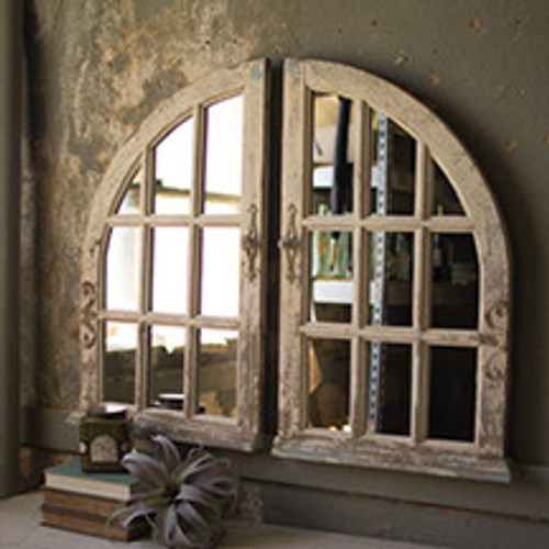 SET OF 2 ARCHED DISTRESSED WINDOW MIRRORS
