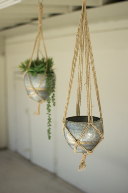 HANGING GALVANIZED PLANTERS WITH WOVEN JUTE ROPE - Set of 2