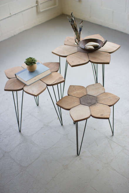 FLOWER SIDE TABLES WITH WOODEN TOPS - SET OF 3