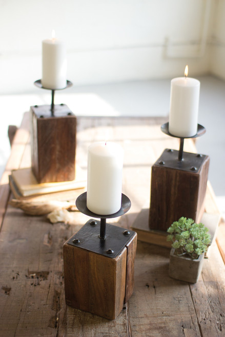 SET OF 3 RECYCLED WOOD CANDLE HOLDERS