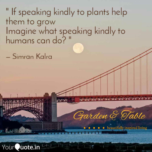 If speaking kindly to plants help them grow .... #Quotes
