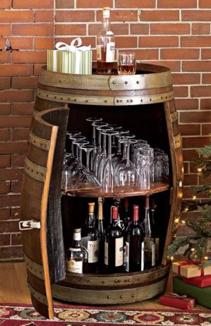 Rolling Wine Barrel Bar