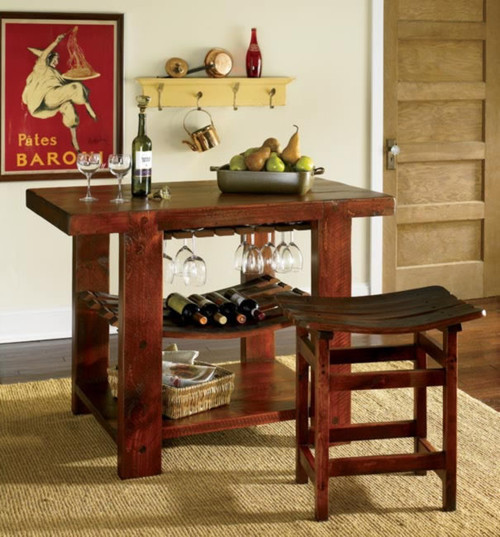 Wine Stave Kitchen Island and 2 Stools