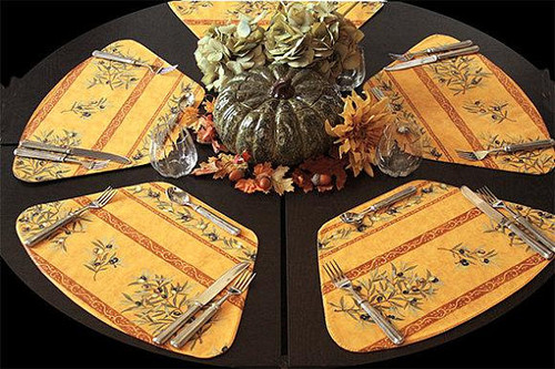 Autumn Thanksgiving French Provence Place Mats for Round Table Olives Branches in Gold - Set of 6