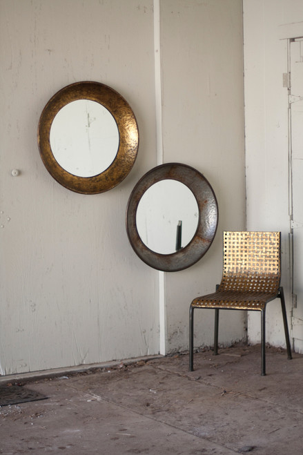 """ROUND NATURAL METAL MIRROR  Silver or Gold - 27.5""""d"""
