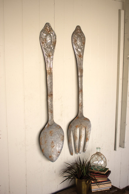 "SET OF 2 LARGE METAL FORK AND SPOON WALL DECOR - 60""t"