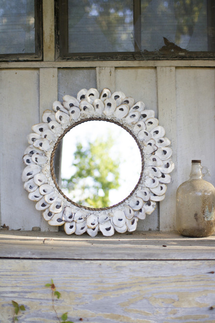 """LARGE ROUND OYSTER SHELL MIRROR - 24""""d"""
