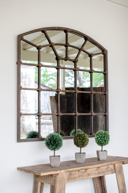 "ARCHED IRON MIRROR 39""t"