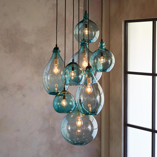 Turquoise Jug Cluster Canopy Pendant Lights