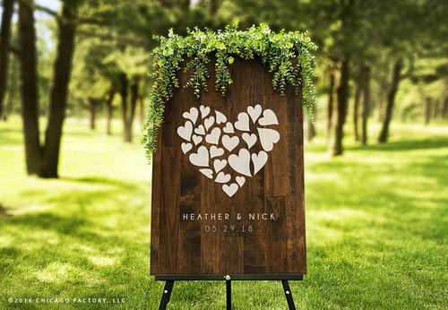 Custom Wood Wedding Sign - Heart