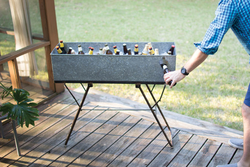 GALVANIZED DRINK TUB WITH STAND AND BOTTLE OPENER