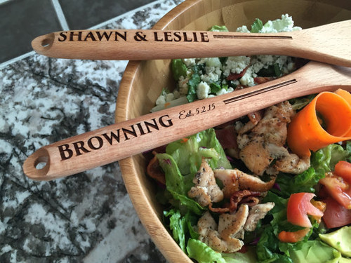 Personalized Decorative Wooden Spoon and Fork Set