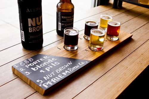 Bamboo Chalkboard Beer Tasting Tray Board
