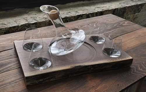 Personalized Revolving Wine Decanter & Revolving Stemless Glasses Set Black Walnut Tray | Wine Gift Set