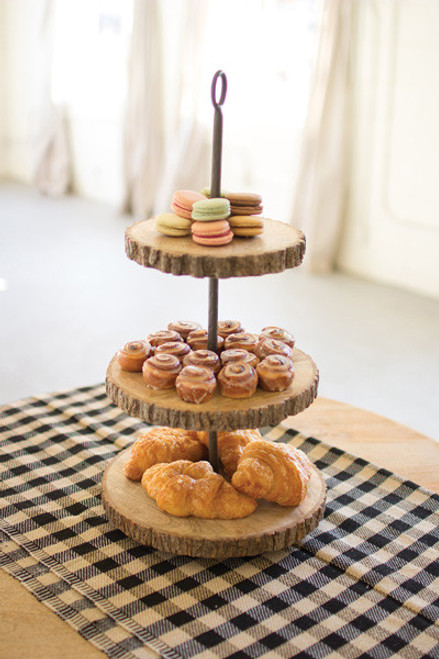 THREE TIERED PINE AND METAL DISPLAY STAND