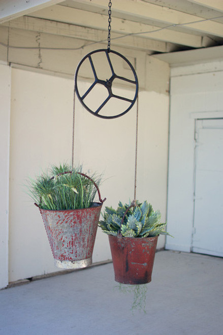 REPURPOSED SEWING MACHINE PULLEY W/IRON BUCKETS SCALE