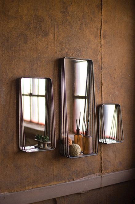 SET OF 3 TALL METAL FRAMED MIRRORS WITH SHELVES