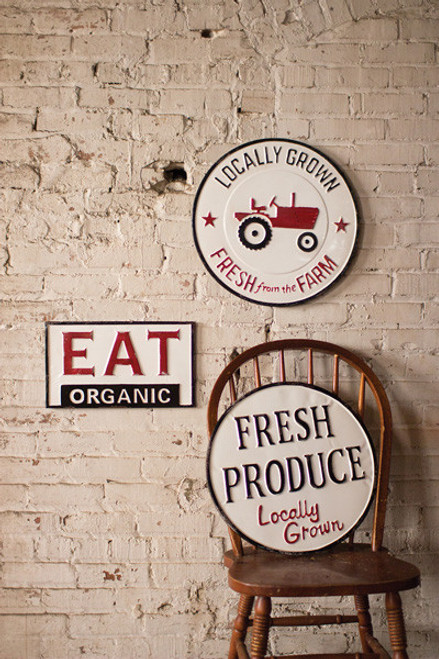 PAINTED TIN EAT ORGANIC, LOCALLY GROWN, FRESH PRODUCE SIGNS