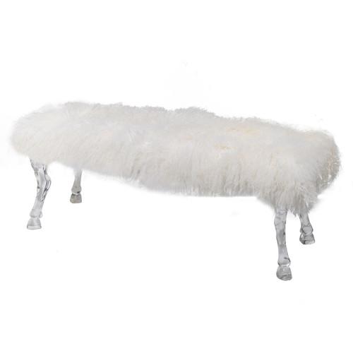 Mongolian Fur Director Bench - White or Black