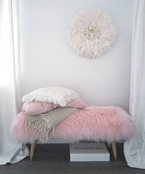 """Bench Banquette Real Mongolian Lamb Fur Rose 47""""w -  other sizes / color available"""