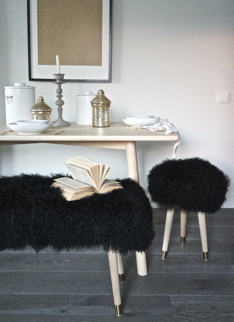Bench Banquette Real Mongolian Lamb Fur Black -  other sizes / color available