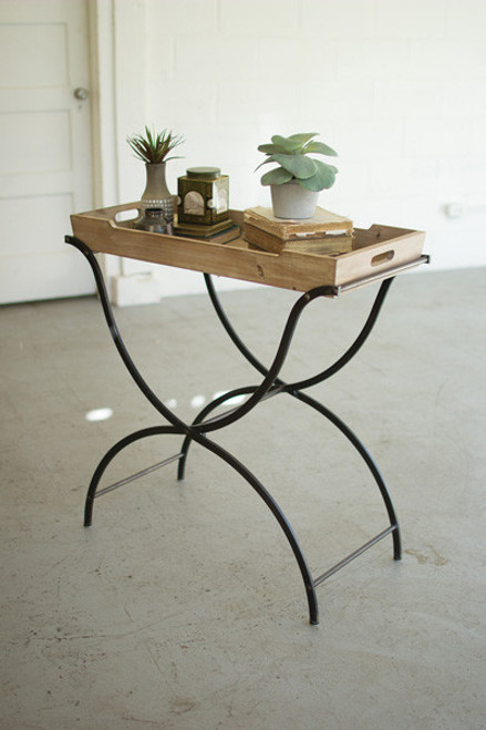WOODEN SIDE TABLE WITH FOLDING IRON BASE
