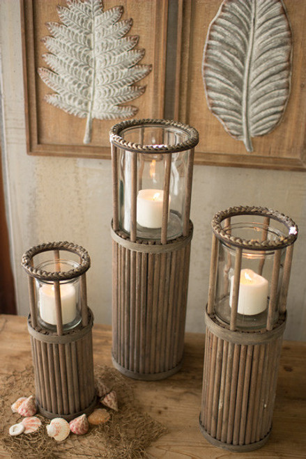 SET OF 3 GREY WOOD LANTERNS W/ GLASS INSERTS & ROPE DETAIL