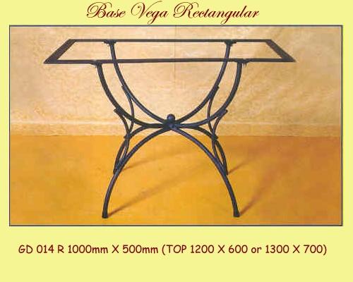 Vega Rectangular Wrought Iron Table Base - multiple sizes available