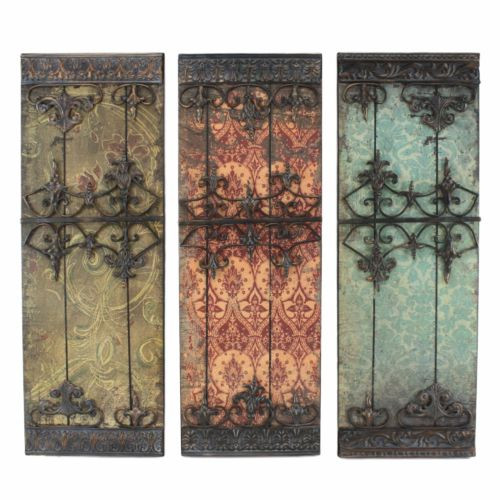 Rustic Moroccan Metal Wall Decor Sculpture - Set of 3