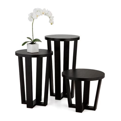 Pedestal Cross Tables - Dark Veneer