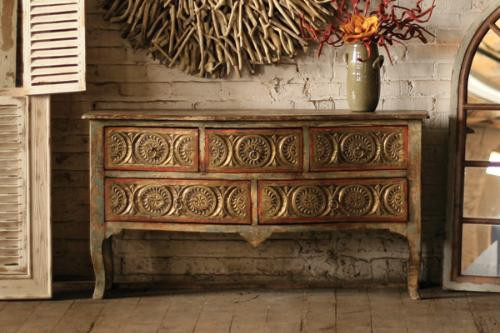 Five Drawer Carved Front Chest