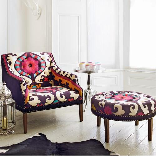 Suzani Print Bath Button Footstool Ottoman