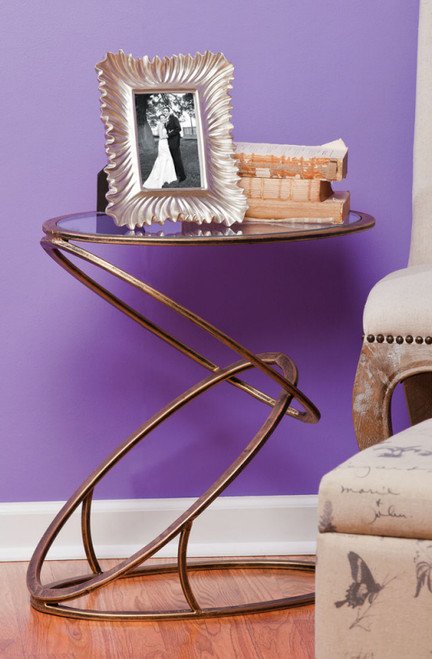 Modern Champagne Gold Metal and Glass Side Table