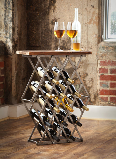 Industrial Metal Wine Rack w/ Wooden Top