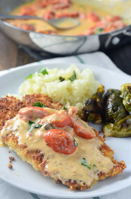 Parmesan Crusted Tilapia with Tomato-Basil Cream Sauce