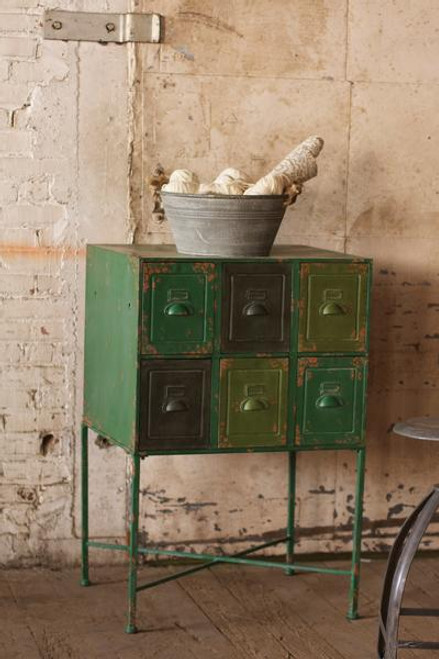 SIX DRAWER CHEST WITH IRON STAND \ ANTIQUE GREEN