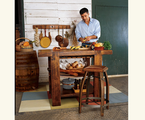 Barrel Stave Kitchen Island Set