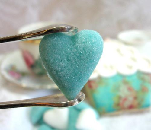 Tiffany Blue and White Heart Shaped Sugar Cubes - 6 Dozen