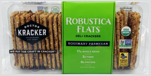 Doctor Kracker Robustica Flats Organic Deli Crackers, Rosemary & Parmesan, 7.5 oz