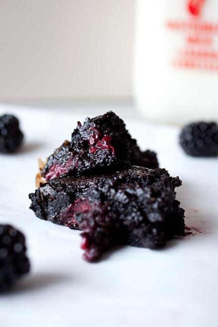 Salted Caramel Blackberry Brownies - (Free Recipe below)