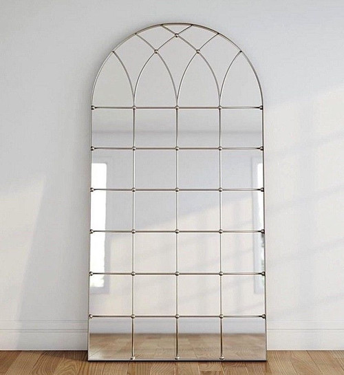 "77"" Gold Arched Floor Wall Leaner Mirror Windowpane"