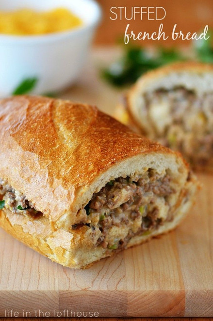 Stuffed Beef, Cheese & Peppers French Bread - (Free Recipe below)