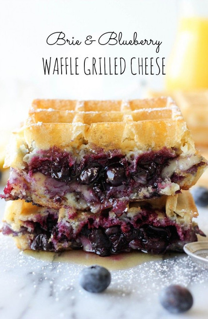 Brie and Blueberry Waffle Grilled Cheese - (Free Recipe below)