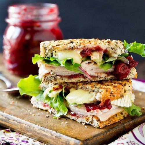 Turkey & Brie Panini w/ Cranberry Chutney - (Free Recipe below)