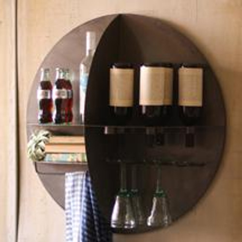 METAL ROUND WALL HANGING WINE BAR