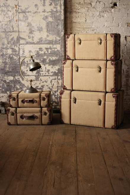 Set of 2 Jute Fabric / Wooden Suitcases