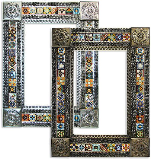 Spanish Tin Tile Mirror - Large - Silver or Oxidized, many designs sizes